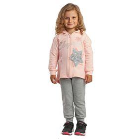 Trax Βρεφική Φόρμα Ζακέτα Σετ Κορίτσι Elegant Ρόζ-Γκρί Μελανζέ
