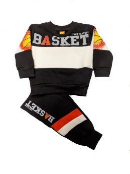 Trax Βρεφική Φόρμα Σετ Αγόρι Basket Εκρού-Μαύρο