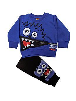 Trax Βρεφική Φόρμα Σετ Αγόρι Little Monster Μπλέ Ρουά-Μαύρο