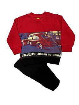 Trax Βρεφική Φόρμα Σετ Αγόρι Travelling Κόκκινο-Μαύρο
