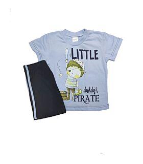 Pretty Baby Βρεφική Πιτζάμα Αγόρι Little Pirate Γαλάζιο-Μπλέ Μαρίν