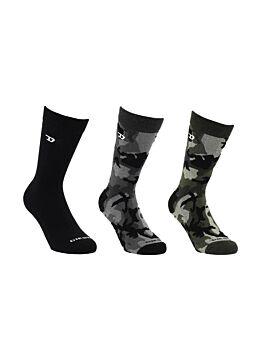 Diesel Skm Ray Ανδρική Κάλτσα Σετ 3 Ζευγαριών Μαύρο-Γκρί-Χακί