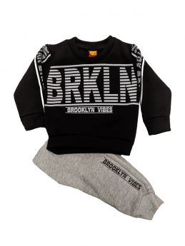 Trax Βρεφική Φόρμα Σετ Αγόρι Brooklyn Μαύρο-Γκρί Μελανζέ
