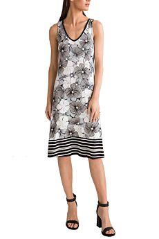 Vamp Γυναικείο Καλοκαιρινό Φόρεμα Αμάνικο Φλοράλ Μαύρο
