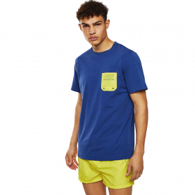 Diesel BMOWT-DIEGO Cotton T-Shirt With Contrast Pocket Μπλέ