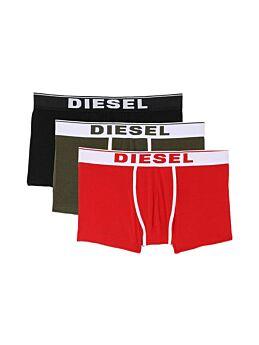 Diesel Cotton Stretch Trunks 3pack Μαύρο-Κόκκινο-Χακί