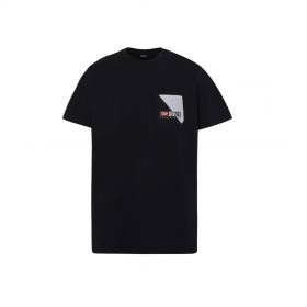 Diesel BMOWT-DIEGO Cotton T-Shirt With Double Logo Pocket Μαύρο
