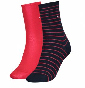 Tommy Hilfiger Γυναικεία Κάλτσα Σετ 2 Ζευγαριών Κόκκινο-Μπλέ
