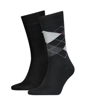 Tommy Hilfiger Ανδρική Κάλτσα Σετ 2 Ζευγαριών Μαύρο