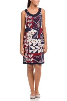 Vamp Γυναικείο Καλοκαιρινό Φόρεμα Γεωμετρικό Μπλέ-Κεραμιδί