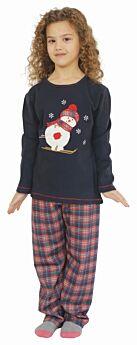 Galaxy Παιδική Πιτζάμα Κορίτσι Snowman Νο 3-6 Μπλέ Μαρίν