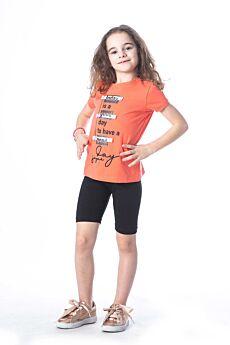 Joyce Παιδικό Σετ Κορίτσι Day Πορτοκαλί-Μαύρο