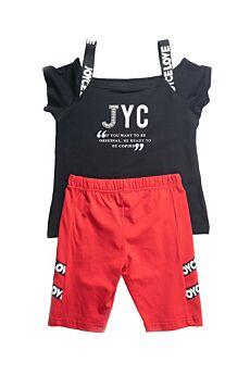 Joyce Παιδικό Σετ Κορίτσι You Go Girl Μαύρο-Κόκκινο