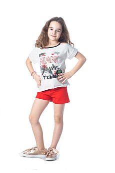 Joyce Παιδικό Σετ Κορίτσι Miami Εκρού Μελανζέ-Κόκκινο