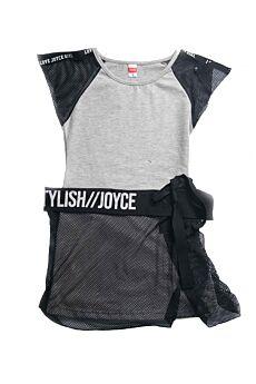 Joyce Παιδικό Φόρεμα Κορίτσι Stylish Μαύρο-Γκρί Μελανζέ