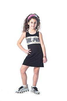 Joyce Παιδικό Φόρεμα Κορίτσι PWR Μαύρο-Λευκό