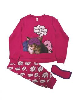 Dreams Βρεφική Πιτζάμα Κορίτσι Sleepy Cat 3τμχ Φούξ