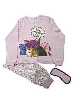 Dreams Βρεφική Πιτζάμα Κορίτσι Sleepy Cat 3τμχ Λιλά