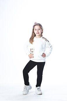 Joyce Παιδική Βελουτέ Φόρμα  Joyce Κορίτσι Εκρού-Μαύρο