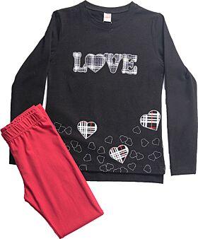 Joyce Παιδικό Σετ Love Κορίτσι Μαύρο-Κόκκινο