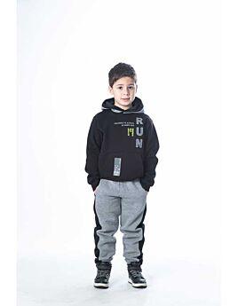 Joyce Παιδική Φόρμα Σετ Αγόρι Run Μαύρο-Γκρί Μελανζέ