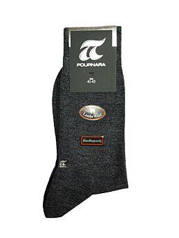 Πουρνάρα Ανδρική Κάλτσα Μάλλινη Ισοθερμική Γκρι Σκούρο 205
