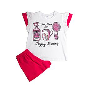 Dreams Βρεφική Πιτζάμα Κορίτσι Happy Morning Λευκό-Φούξ