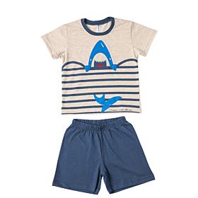 Dreams Βρεφική Πιτζάμα Αγόρι Shark Εκρού Μελανζέ-Μπλέ Ράφ