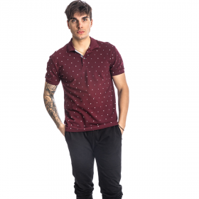 Paco & Co Polo T-Shirt Pc Pattern Μπορντό