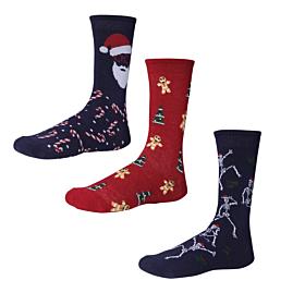 Ysabel Mora Ανδρική Βαμβακερή Κάλτσα 22803 Christmas Vibes 3τμχ Μπλε Μαρίν-Κόκκινο