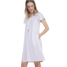 Noidinotte Γυναικείο Νυχτικό Plus Size Καρό Μανίκι Λευκό-Ρόζ