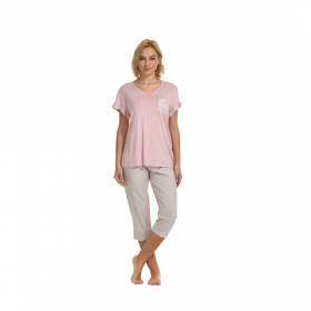 Primavera Γυναικεία Πιτζάμα Κάπρι Ροζ-Μπεζ
