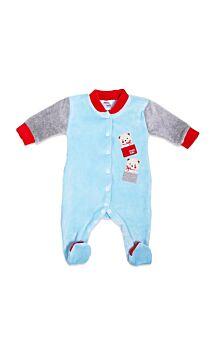 Pretty Baby Βρεφικό Βελουτέ Φορμάκι Present Bears Γαλάζιο-Γκρί Μελανζέ