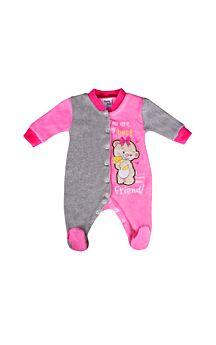 Pretty Baby Βρεφικό Βελουτέ Φορμάκι Bear Ρόζ-Γκρί Μελανζέ