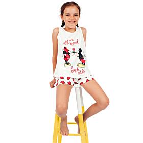 Admas Παιδική Πιτζάμα Tween Chica Love Mouse Λευκό