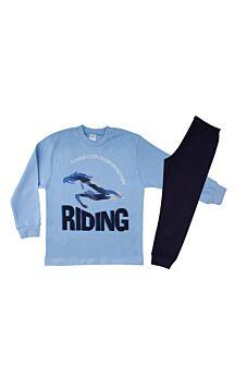 Pretty Baby Παιδική Πιτζάμα Αγόρι Riding Club Νο 6-10 Σιέλ-Μπλέ Μαρίν