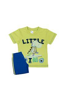 Pretty Baby Βρεφική Πιτζάμα Αγόρι Little Dino Λαχανί-Μπλέ