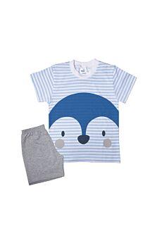 Pretty Baby Βρεφική Πιτζάμα Αγόρι Dolphin Γαλάζιο Γκρί Μελανζέ