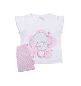 Pretty Baby Βρεφική Πιτζάμα Κορίτσι Elephant Λευκό-Λιλά