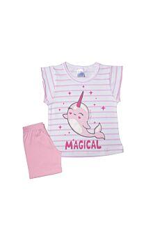 Pretty Baby Βρεφική Πιτζάμα Κορίτσι Magical Εκρού Ρόζ