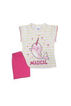 Pretty Baby Βρεφική Πιτζάμα Κορίτσι Magical Εκρού Λεμονί Φούξ
