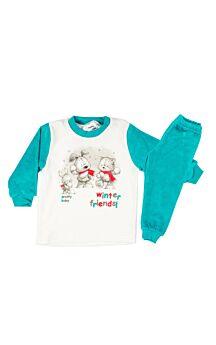 Pretty Baby Βρεφική Βελουτέ  Πιτζάμα Αγόρι Winter Friends Εκρού-Σμαραγδί