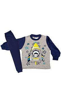Pretty Baby Βρεφική Πιτζάμα Αγόρι Space Mission Γκρί-Μπλέ Ράφ