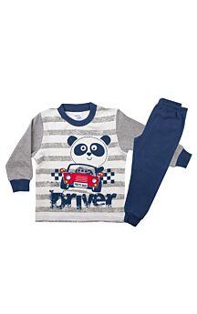 Pretty Baby Βρεφική Πιτζάμα Αγόρι Car Εκρού-Μπλέ Μαρίν