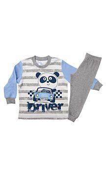 Pretty Baby Βρεφική Πιτζάμα Αγόρι Car Εκρού-Γκρί Μελανζέ