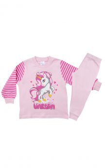 Pretty Baby Βρεφική Πιτζάμα Κορίτσι Unicorn Ρόζ-Φούξ