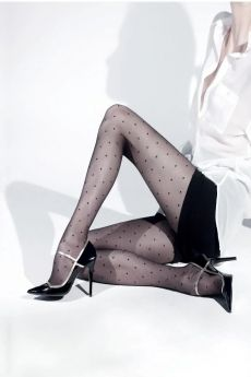 IDER Γυναικείο Διάφανο Ελαστικό Καλσόν Με Σχέδιο Πουά 20D Μαύρο