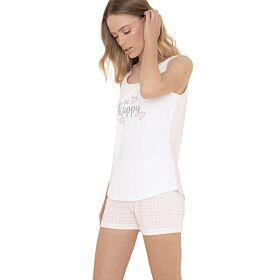 Noidinotte Γυναικεία Πιτζάμα Be Happy Λευκό-Ρόζ