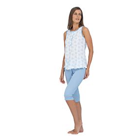 Linclalor Γυναικεία Πιτζάμα Βαμβακερή 74045 Λευκό-Γαλάζιο