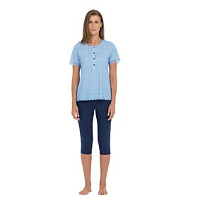 Linclalor Γυναικεία Πιτζάμα Βαμβακερή 74131 Γαλάζιο-Μπλέ Μαρίν
